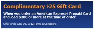 $25 Amex prepaid card