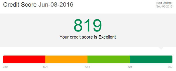 EquiFax FICO score - 819-600