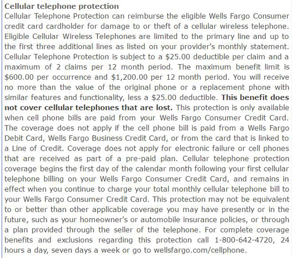 Wells Fargo Cell Protection Fine Print